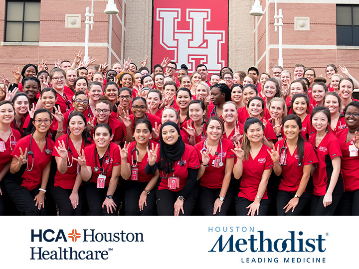 "Image of Nursing students in front of UH banner making Go Coogs handsign and at the bottom are <a href=""https://hcahoustonhealthcare.com/"">HCA Houston Healthcare</a> and <a href=""https://www.houstonmethodist.org/"">Methodist hospital</a> logos"