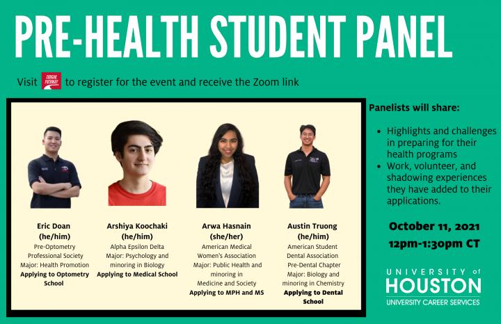 Pre-Health Student Panel 10.2021