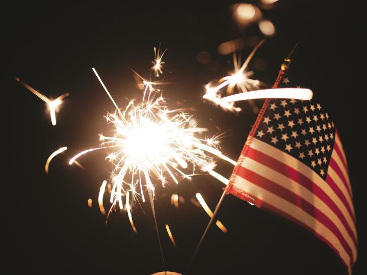 firework and flag