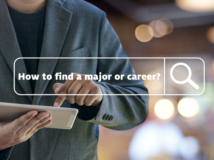 """A cropped image of a person in a grey suit jacket typing on a device. Above the image is an enlarged search box with the words """"How to find a major or career"""" inside"""