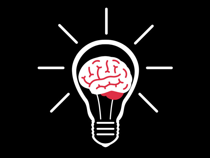 brain in a light bulb illustration