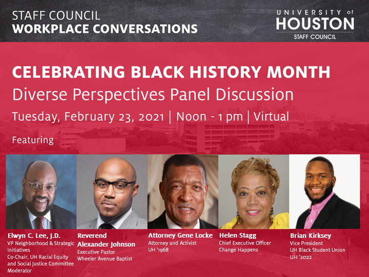 Celebrating Black History Month: Diverse Perspectives Panel Discussion<br />  Tuesday, February 23, 2021<br />  12:00 pm to 1:00 pm